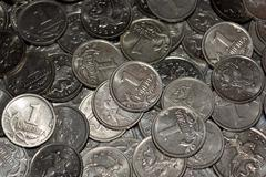 Scattering of Russian coins Stock Photos