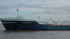 Furenas oil chemical tanker in river mersey, liverpool, england Stock Footage