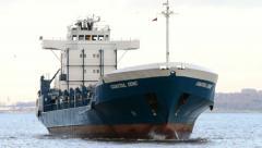 Coastal deniz general cargo ship in river mersey, liverpool, england Stock Footage