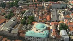 Aerial shot of Gazi-Husref bey mosque in Sarajevo - stock footage