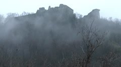 4K Slow Clouds Fog  Timelapse with Citadel Castle of Visegrad Hungary Stock Footage