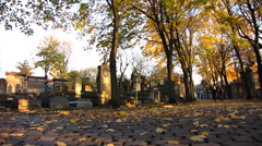 Paris Pere Lachaise - cemetery, graveyard in autumn - stock footage