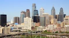 Philadelphia Skyline from University city Stock Footage