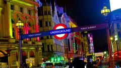 4k amazing london picadilly circus underground sign timelapse Stock Footage