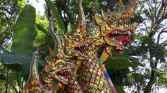 Naga at the steps of Wat Doi Suthep, Chiang Mai, Thailand Stock Footage