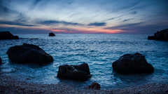 Sea coast in the evening Stock Footage