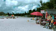 Stock Video Footage of Antigua Jolly Beach 085, kiosk for souvenirs and beach accessories