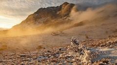Fog descending the mountain slope Stock Footage