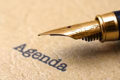 Fountain pen on agenda Stock Photos