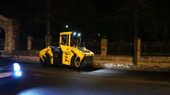 Road works in big city at late evening Stock Footage