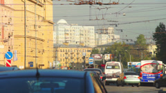 Day traffic with bus and cars in Saint Petersburg, Russia Stock Footage