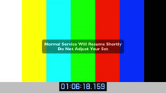 TV test colour bars with warning and timecode - stock footage