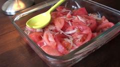 1144 Tomatoe onion salad Stock Footage