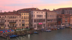 Aerial view Venice town cityscape boat traffic twilight day sunset Grand Canal  Stock Footage