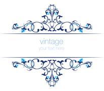 Blue ottoman serial patterns twenty-two Stock Illustration