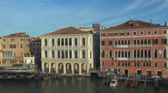 Venice city life sidewalk aerial view panorama town architecture day bridge sky Stock Footage