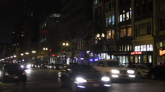 Boston at night - Boylston Street (2) Stock Footage