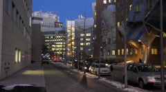 Boston at night - Vassar St Cambridge (2) Stock Footage