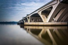 Stock Photo of long exposure of the woodrow wilson bridge, in alexandria, virginia.