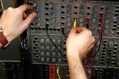 Audio connectors with sound mixer - stock photo