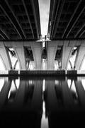 long exposure under the woodrow wilson bridge, in alexandria, virginia. - stock photo