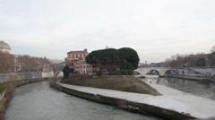 Tiber island  in Rome - stock footage