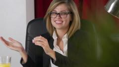Pretty Businesswoman Interrupted Dancing In Office Stock Footage
