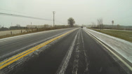 Stock Video Footage of A Point of View (POV) drive on snow covered rural road