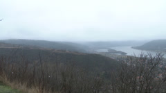 Danube Bend Foggy Winter Day Visegrad Hungary 2 pan Stock Footage