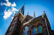 Stock Photo of looking up at st. peter's roman catholic church, in harper's ferry, west virg