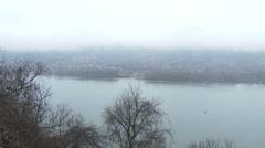Danube Bend Foggy Winter Day Visegrad Hungary 4 pan Stock Footage