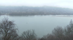 Danube Bend Foggy Winter Day Visegrad Hungary 5 Stock Footage