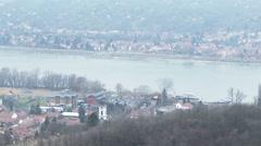 Danube Foggy Winter Day Visegrad Hungary 3 Stock Footage