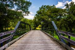 old bridge over codorus creek in york county, pennsylvania. - stock photo