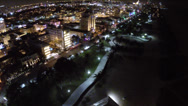 Stock Video Footage of Aerial footage of South Beach Miami at night