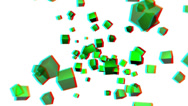 Stock Video Footage of vj, green cubes on white background. 3d, stereoscopic, anaglyph