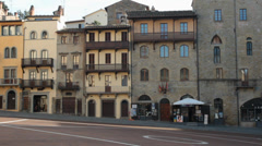 Piazza grande, medieval square in Arezzo, Tuscany, Italy Stock Footage