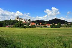 Czech Republic - Summer landscape with Medieval Castle Ruins Rabi - stock photo