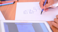 Engineer analysis and drawing database diagram Stock Footage