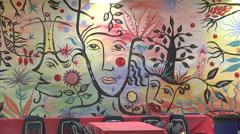 African-american mural setting medium shot Stock Footage