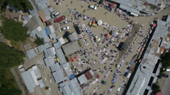 Aerial shoot of market place Stock Footage