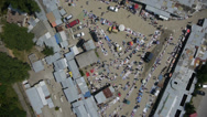 Stock Video Footage of aerial shoot of market place