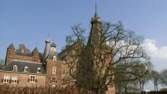 Doorwerth Castle courtyard - tilt up medieval monument Stock Footage