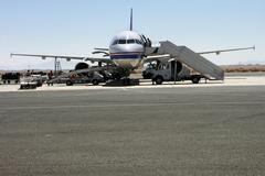 Frontal view of aircraft on landing area at the airport in Egypt Stock Photos