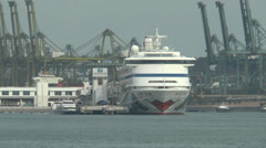 Cruise ship berthing at sea near a container port (CRUISE SHIP--1A) Stock Footage