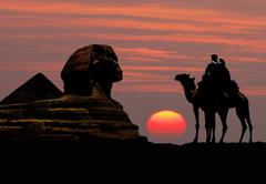 Symbol Egypt's - pyramid, Sphinx, camel and sunset Stock Photos
