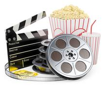 3d white people. cinema clapper film reel drink and popcorn Stock Illustration