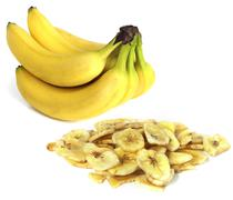 Fresh fruit - yellow banana and dried banana Stock Photos