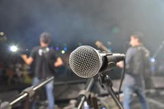 Mic on stage - stock photo