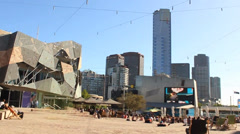 065 timelapse federation square Stock Footage